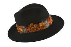 Chapéu de feltro preto Fotografia de Stock
