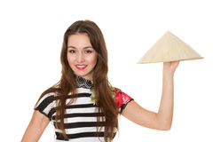 Chapéu de palha bonito asiático da terra arrendada da menina Imagens de Stock