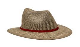 Chapéu de palha de Brown isolado no branco fotografia de stock