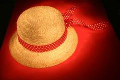 Chapéu de palha com fita imagem de stock