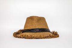 Chapéu de palha com fita preta fotos de stock royalty free