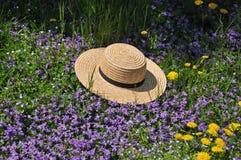 Chapéu de palha de Amish no tempo de mola fotografia de stock
