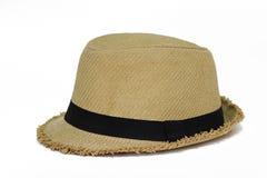 Chapéu de palha de Panamá do verão isolado no branco Foto de Stock Royalty Free
