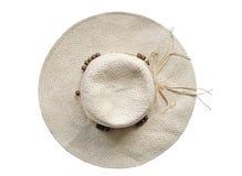 Chapéu de palha do verão no fundo branco - vista superior Fotografia de Stock Royalty Free