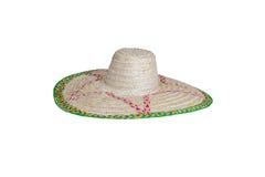 Chapéu de palha isolado no branco Veiw lateral Imagens de Stock