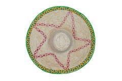Chapéu de palha isolado no branco Veiw superior Imagem de Stock Royalty Free