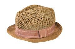 Chapéu de palha isolado no fundo branco imagens de stock royalty free