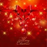 Chapéu de Papai Noel com esferas da árvore Fotos de Stock Royalty Free