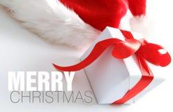 Chapéu de Santa & caixa dos chrismas (fácil remover o texto) Fotografia de Stock