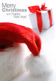 Chapéu de Santa & caixa dos chrismas (fácil remover o texto) Imagens de Stock