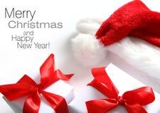 Chapéu de Santa & caixa dos chrismas (fácil remover o texto) Imagens de Stock Royalty Free