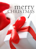 Chapéu de Santa & caixa dos chrismas (fácil remover o texto) Imagem de Stock Royalty Free