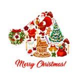 Chapéu de Santa com o cartão dos símbolos do Natal ilustração stock