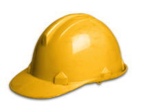 Chapéu de segurança plástico do capacete em Whit Background Fotos de Stock