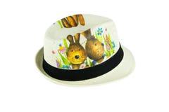 Chapéu de tecelagem branco com cinturão negro Imagens de Stock