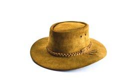 Chapéu de vaqueiro marrom do vintage no fundo branco Fotos de Stock