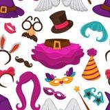 Chapéu do carnaval e teste padrão sem emenda dos acessórios, da peruca e da saia ilustração do vetor
