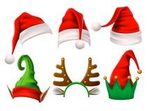 Chapéu do feriado do Natal Duende 3d, rena da neve e chapéus engraçados de Santa Claus para o noel Grupo isolado roupa do vetor d ilustração stock