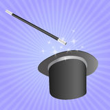 Chapéu do mágico com vara Fotografia de Stock