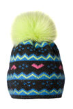 Chapéu do ` s das mulheres Chapéu feito malha isolado no fundo branco colorido foto de stock