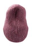 Chapéu do ` s das mulheres Chapéu feito malha isolado no fundo branco crimson fotografia de stock