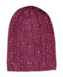 Chapéu do ` s das mulheres Chapéu feito malha isolado no fundo branco crimson imagem de stock