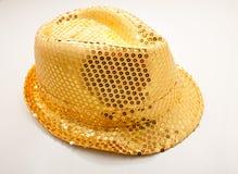 Chapéu dourado do carnaval Fotos de Stock