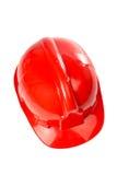 Chapéu duro vermelho plástico fotografia de stock