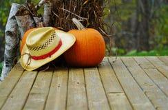 Chapéu e abóbora de palha Imagem de Stock