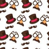 Chapéu e bigode do carnaval, com vidros e teste padrão sem emenda do nariz ilustração stock