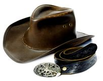 Chapéu e correia de cowboy do estilo do vintage Fotografia de Stock Royalty Free