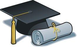Chapéu e diploma da graduação ilustração do vetor