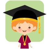 Chapéu e equipamento vestindo da graduação do estudante feliz do logotipo ilustração do vetor