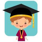 Chapéu e equipamento vestindo da graduação do estudante feliz do logotipo ilustração stock