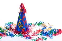 Chapéu e flâmulas do aniversário foto de stock royalty free