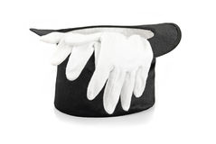 Chapéu e luvas da mágica preta Fotos de Stock Royalty Free