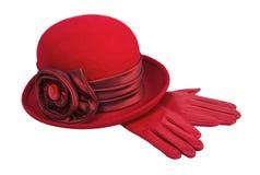 Chapéu e luvas das senhoras Imagens de Stock Royalty Free