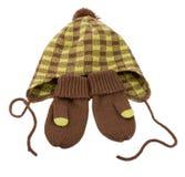 Chapéu e mittens do inverno das crianças. foto de stock royalty free