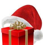 Chapéu e presente de Santa Imagem de Stock Royalty Free