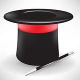 Chapéu e varinha mágicos Fotos de Stock Royalty Free