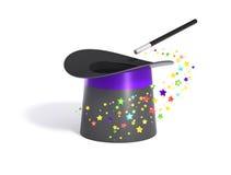 Chapéu e varinha mágicos com trajeto de grampeamento Fotos de Stock