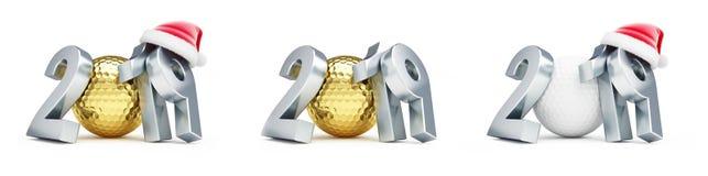 Chapéu em uma ilustração branca do fundo 3D, de Santa do ano novo da bola de golfe 2019 do ouro rendição 3D ilustração stock