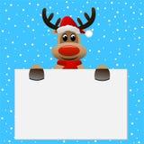 Chapéu engraçado do Natal da rena que guarda uma bandeira vazia ilustração royalty free