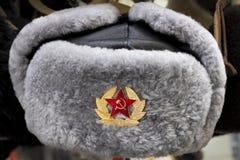Chapéu forrado a pele do inverno de URSS do russo Foto de Stock
