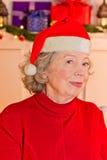 Chapéu idoso da senhora Santa Claus Imagens de Stock Royalty Free