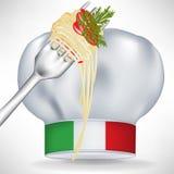 Chapéu italiano do cozinheiro chefe com massa Fotos de Stock