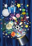Chapéu mágico e muitos presentes Foto de Stock