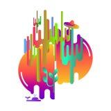Chapéu mexicano, cactos e baleias Abstração moderna do estilo com a composição feita de várias formas arredondadas na cor, uma im Imagens de Stock