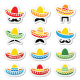 Chapéu mexicano do sombreiro com ícones do bigode ou do bigode Foto de Stock Royalty Free