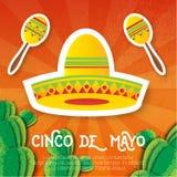 Chapéu mexicano do sombreiro, maracas Instrumento musical Maraca, México, carnaval, instrumento de percussão Foto de Stock